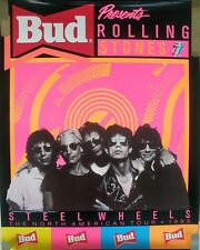 ROLLING STONES STEEL WHEELS 1989 VINTAGE NORTH AMERICAN MUSIC TOUR PROMO POSTER