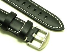 22mm Replacement Black Leather Contrast Stitch Watch Band Silver Buckle - Seiko