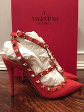 NIB Valentino Rockstud Coral Red Orange Peb Leather T Strap Heel Pump 37 $1075
