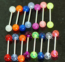 "20 Pc 14g 5/8"" 7 Colors Glow In the dark + Glitter Tongue Rings Nipple Barbells"