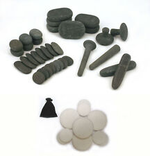MassageMaster REFLEXOLOGY HOT/COLD STONE MASSAGE SET: 34 Basalt/10 Marble Stones