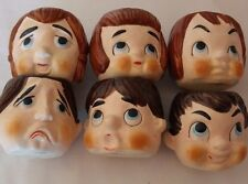 Vintage Ceramic Egg Cups Set of 6 Unbranded All Different Characters 3 Men 3Wome