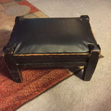 Vintage Foot Stool with Textured Vinyl Top Wooden Legs and frame