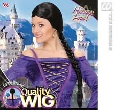 Ladies Black Wig With Long Plait Lara Croft Fairy Tale Fancy Dress