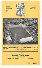 Watford v Crystal Palace - Div 3 - 15/10/1963 - Football Programme