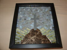 Cross on Hill MOSAIC Christian Wall Hanging Handmade ART  Christmas Gift Curio