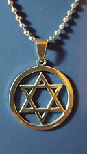 Star Of David Pendant Necklace On 2.4 mm Chain Stainless Steel Free UK Delivery