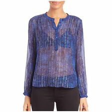 $300 REBECCA TAYLOR NWT Static Chiffon Sheer SILK Top Blouse Blue Silver Sz 4