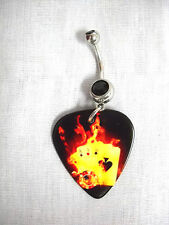 NEW 4 ACES POKER HAND ACE ORANGE FIRE GUITAR PICK BLACK CZ BELLY BAR NAVEL RING