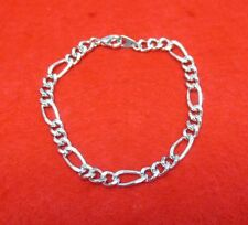 8 INCH 14KT WHITE GOLD EP 8MM FIGARO 3/1 CHAIN BRACELET