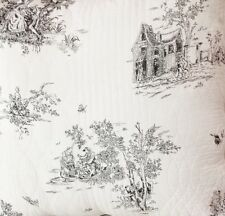 """French Country Toile Throw Rug Blanket 150cm sq (59"""") White Black / Grey"""