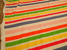 "White with Pastel Rainbow Stripe Interlock Knit 100% Cotton Fabric BTY x 58""w"
