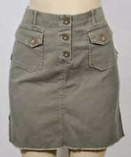 VOLCOM GAL SCOUT NEW NWT Army Green Cotton Mini Skirt 7 Raw Frayed Hem Unlined