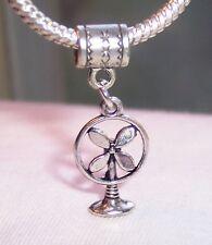 Table Fan Retro 3D Dangle Bead Gift fits Silver European Style Charm Bracelets