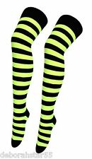 Striped Overknee Socks Fluorescent Neon Green Yellow Over the Knee Long Socks
