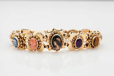 Antique 1940s Coral CAMEO Amethyst Pearl Turquoise 14k Gold SLIDE Charm Bracelet