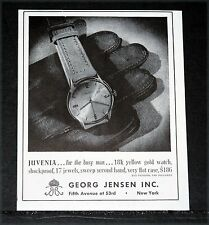 1944 OLD WWII MAGAZINE PRINT AD, GEORG JENSEN JUVENIA WATCH, FOR THE BUSY MAN!