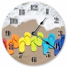 "10.5"" FLIPFLOPS ON BEACH SAND CLOCK Large 10.5"" Wall Clock Home Décor - 3077"