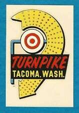 "VINTAGE ORIGINAL 1955 SOUVENIR ""TURNPIKE"" HIGHWAY 99 TACOMA WASHINGTON DECAL ART"