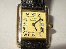 Must de CARTIER 18K Vermeil Roman Tank Quartz Watch Ref. 1613