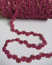 """3/4"""" Victorian Rose Pink Flower Leaf Garland Braid Trim- 4 Yards-T839K"""