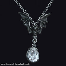 Alchemy Gothic La Nuit Pewter Necklace.Bat. Vampire. Horror. Clear Gem. Goth.