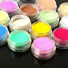 Lot 12 Mix Colors Nail Art Acrylic UV Gel Powder Dust 3D Tips DIY Decoration Set