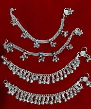 Baby silver charm bells lot 4 anklet ankle bracelet Indian chain gift jewelry 6""