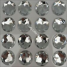24 x 20mm CLEAR ROUND Rhinestone Diamante Stick On Self Adhesive GEMS Diamonte