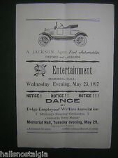 May 23, 1917 Entertainment & Dance Brochure @ Memorial Hall, Oxford, Maine