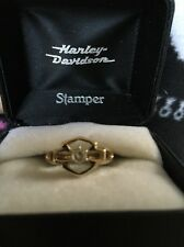 Harley Davidson Ring Stamper With Diamond Size 7 10k Yellow Gold New