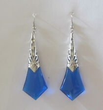 LARGE BLUE FACETED ACRYLIC SILVER PLATED DECO FILIGREE EARRINGS