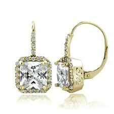 Gold Tone 6.5ct CZ Square Halo Leverback Earrings