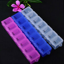 7 Day Medicine Box Storage Organizer Container Health Pill Cases Random