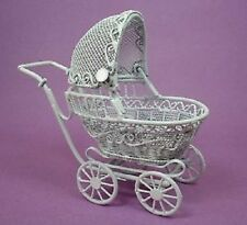 BABY  Buggy  - Miniature Dollhouse Doll Carriage Pram 1:12 scale White