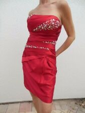 HOLIDAY RED~MERLE COCKTAIL Evening DRESS STRAPLESS  RHINESTONES SEQUINS SZ 6
