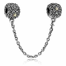 Genuine Authentic Pandora Silver & Gold Bouquet Flower Clip Safety Chain. 790864
