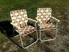 Set of 2 Retro Vintage Aluminum Fold Up Webbed Patio Camp Lawn Chairs Colorful