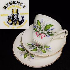 Regency c1960s Lily of the Valley Pink Bow Vintage English Bone China Trio Set