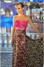 Precious Formals Pink Cheetah Print Crystal Beaded Evening Dress 8US BNWT