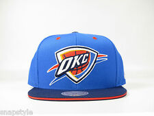 New NBA Oklahoma City Thunder Mitchell & Ness Tip Off Blue 2T Logo Snapback Hat