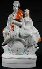 Large Vintage Antique 1860's-90's Staffordshire Pottery Man & Woman on Clock