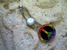 Belly Button Navel Ring 14g 316L ML29 Gay Pride Rainbow FLAG Peace Sign Charm