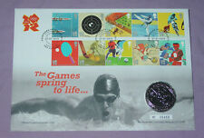 2012 LONDON OLYMPICS 2010 COUNTDOWN £5 CROWN ON STAMP COVER