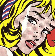 STAMPA SU TELA CANVAS ROY LICHTENSTEIN GIRL WITH HAIR POP ART  70X70