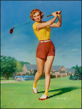 "Vintage Pin Up Illustration Art Golf 11 x 14""  Photo Print"