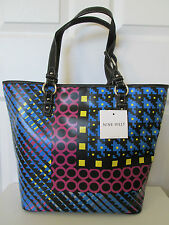 NWT New Nine West Neon Multi/Black Day Glo Tall Tote Shopper Handbag Women $85