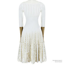 Alaia ivory White Cream Slim-Fit Rufffle Pleated Iris Skater Dress FR38 IT42