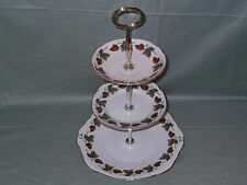 Duchess Bone China 3-Tier Cake Plate Stand Pattern No. 970 Green & Brown Leaves