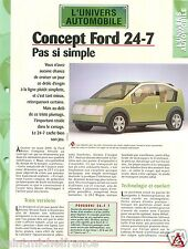 Concept Ford 24-7 Prototype Technology Goodyear Zetec USA Car Auto FICHE FRANCE